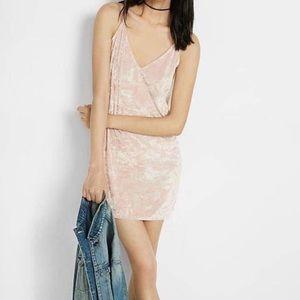 Pink velvet spaghetti strap shift dress